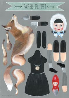 Art doll hand painted paper puppet of winter by KinomiBoutique http://www.pinterest.com/bindeej/paper-dolls/