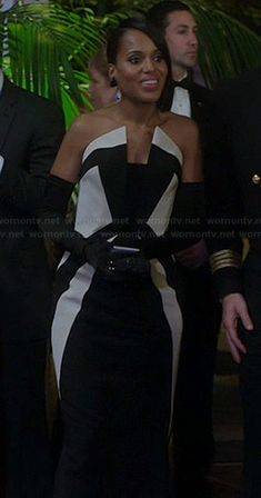 Olivia's black and white strapless gown on Scandal.  Outfit Details: http://wornontv.net/22265/ #Scandal