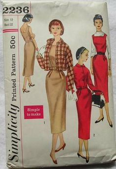 "1950 Misses Dress Jumper Vintage Sewing Pattern, Sexy, Pinup,  Bantu Neckline, Matching Jacket Pattern Simplicity 2199 Bust 34"" uncut"