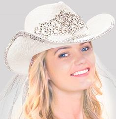 Scroll Bling White Straw Country Western Bride Hat w Veil for a Texas Bachelorette  Party 44cb20a183fc