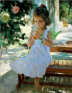 Little Fashion Girl Original Painting by Vladimir Volegov