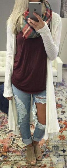 #fall #fashion / tartan scarf + oversized knit cardigan