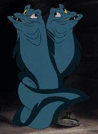 Flotsam and Jetsam were the moray eel minions of the sea witch Ursula. They appear as the secondary antagonists in the film The Little Mermaid and the prequel television series. They were both voiced by the late Paddi Edwards in the film. Flotsam and Jetsam are voiced by the late Paddi Edwards in the film and the television series. They speak in unison, finish each other's sentences, and entwine their bodies. The concept of their linkage is further heightened when their white eyes combin...