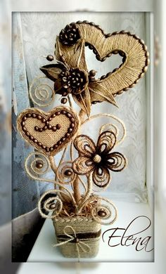 Twine Flowers, Fabric Flowers, Coffee Bean Art, Twine Crafts, Coffee Crafts, Cardboard Art, Newspaper Crafts, Quilling Patterns, Hand Embroidery Designs