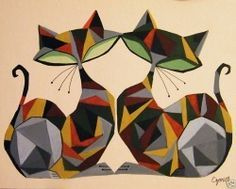 Stylized Mid Century ish Retro Style Geometric Cats Art by El Gato Gomez I Love Cats, Crazy Cats, Cool Cats, Graphisches Design, Illustration Art, Illustrations, Cat Quilt, Mid Century Art, Here Kitty Kitty