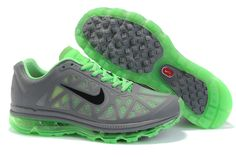 $46.98   Fake Mens Nike Air Max 2011 Cool Grey/Black-Neo Lime Sneakers