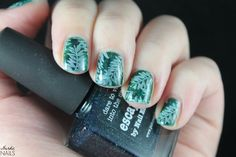 Nerdic Nails. Picture Polish - Escapades leaves stamping.
