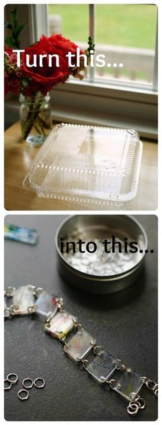 Live Smart Tip #3: Save those plastic leftover containers you get at restaurants and re-use them as shrinky-dink material! (Actually, any type 6 plastic will do - just look for the number.)    Here they made plastic beads for a bracelet, but you could also make a totally unique key chain or custom buttons. Simply draw or trace your design, cut them out (not forgetting to use a hole punch if you need a hole) then pop them into the oven at 325 for about 3 minutes. Voila!