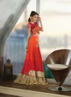 Lovely Orange And Red Shaded Georgette Lehenga Choli