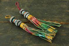 African Tuareg Tassel / Goat Leather / Tribal, Nomad Leather Fringe / 1 Tassel / Jewelry Supply, Decor, Accessory, Charm