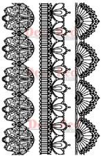 DEEP RED RUBBER CLING STAMP VINTAGE LACE BORDER SET OF 3  #5X74003