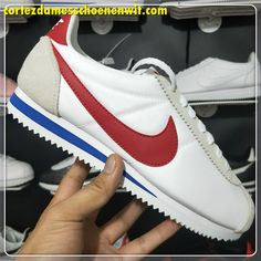 size 40 6a084 6f420 Nike Classic Cortez 354698-161 Nylon Herenschoenen Wit Grijs Rood Blauw Nike  Cortez Leather,