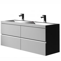The Gerhard true solid surface sink and cabinet - Two white sink and four cabinet set  http://www.franceandson.com/the-gerhard-true-solid-surface-sink-and-cabinet.html