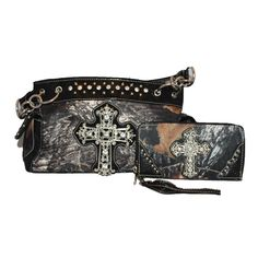 Rhinestone Camouflage Cross Women's Shoulder Handbag Purse in 4 Colors. AW8019. Rhinestone Camouflage Cross Women's Shoulder Handbag Purse with Matching Wallet in One Set, 4 Colors. Handbag with compartments inside, zippers on top insisde.cellphone pocket, wallet pocket. Large pocket with zippers inside, on top and outside, extra large pocket on back for everything easy to get. Detailed Beautiful Large and small rhinestone cross on front in camouflage style. Same business day handling…