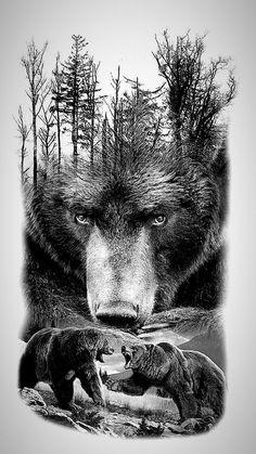 pics pics art pics awesome pics beautiful pics design pics for men pics ideas pics ink pics photography pics tatoo Wolf Tattoos, Animal Tattoos, Tattoo Drawings, Body Art Tattoos, Sleeve Tattoos, Tattoo Pics, Tattoo Art, Grizzly Bear Tattoos, Grizzly Bear Drawing