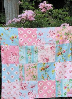 32x32 Sweet Pink and Aqua Baby Blanket Made to by sewfunbymonique, $38.00