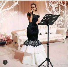 cbc69121d9 Myriam Fares Mermaid Evening Dresses White and Black Prom Party Gowns Short  Sleeve Bateau Neckline Lace Celebrity Dress Floor Length