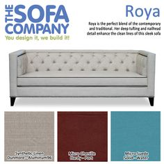 Roya is the perfect blend of the contemporary and traditional. Her deep tufting and nailhead detail enhance the clean lines of this sleek sofa.