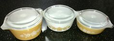 Vintage Set of 3 Pyrex Butterfly Gold Covered Casseroles # 472, 473,472, #pyrex