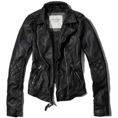 Abercrombie and Fitch TATUM JACKET (185 AUD) ❤ liked on Polyvore featuring outerwear, jackets, tops, coats, quilted jacket, quilted faux leather jacket, zipper jacket, quilted moto jacket and faux leather biker jacket