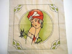 vintage embroidered flapper pillows | Flapper Girl Art Pillow Cover Embroidery Partly Finished Art Deco ...