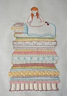 Princess and the Pea Embroidery Pattern...Totally me...doesn't matter what I lay or how much, if there is a little pebble or an aspirin...I willl hurt until I find it..Gotta draw this...I tell everyone that I am like the princess and the pea..