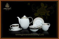Bộ Trà Cao cấp - Gốm Sứ Minh Long 1: Bộ cà phê 1,3L Hoa Hồng 01130101703
