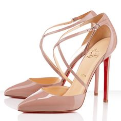Christian Louboutin Crosspiga 120mm Patent Leather Pumps Nude