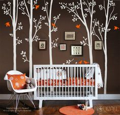 Tree Wall Decal - spring trees with birds.