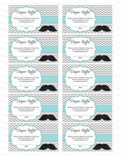 Free+Printable+Baby+Raffle+Tickets | Moustache Baby Shower Diaper Raffle  Ticket