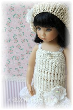 "OOAK Hand Knit Outfit ""Cream"" Effner Little Darling 13"" Doll 