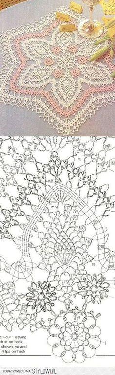 Crochet Lace Doily with Pattern Scheme                                                                                                                                                      Mais