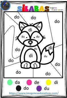 Colorear por sílabas - Imagenes Educativas Speech Language Pathology, Speech And Language, Spanish Classroom Posters, Mickey Coloring Pages, Blending Sounds, School Tool, Preschool Worksheets, Teaching Spanish, Home Schooling