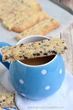 Chocolate Chip Walnut Cookie Bars: delicious shortbread cookie sticks that are perfect for dunking!