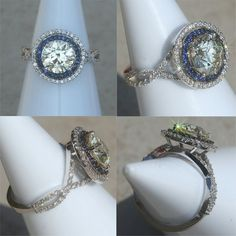 Round Diamond Engagement Ring with Blue Sapphire and Diamond Double Halo & Twisted Shank