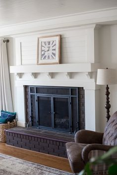 Fireplace Makeover • Le Bois Home Reface Brick Fireplace, Brick Fireplace Remodel, Fireplace Update, Brick Fireplace Makeover, Home Fireplace, Fireplace Surrounds, Fireplace Mantels, Fireplace Ideas, Mantel Ideas