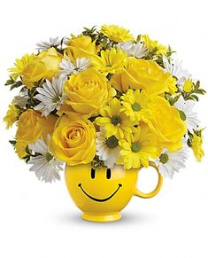 Order Teleflora's Be Happy Bouquet with Roses from Villere's Florist, your local Metairie florist. Send Teleflora's Be Happy Bouquet with Roses for fresh and fast flower delivery throughout Metairie, LA area. Send Flowers, Fresh Flowers, White Flowers, Beautiful Flowers, Cheap Flowers, Bouquet Flowers, Order Flowers Online, Yellow Daisies, Arte Floral