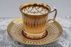 """Royal Chelsea """"Cathedral"""" Tea Cup and Saucer, circa 1950s"""