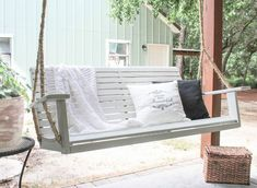 "I hope to be doing a lot of ""back porch sitting"" this summer. Mainly because I just finished installing our porch swing. We've never had a porch swing before an… Metal Outdoor Chairs, Outdoor Tables, Outdoor Furniture, Outdoor Decor, Outdoor Ideas, Outdoor Paint, Outdoor Stuff, Ikea Furniture, Furniture Ideas"