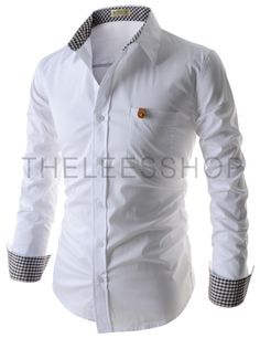 (EVS106-WHITE) Mens Slim Fit 1 Chest Pocket Patched Stretchy Basic Long Sleeve Shirts
