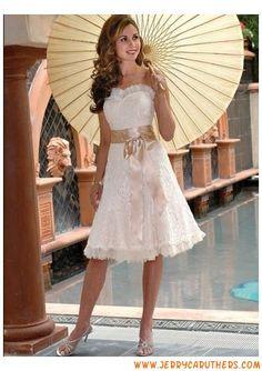 strapless lieverd korte kanten bruidsjurk met riem