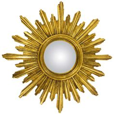 French Convex Carved Gilt Wood Sunburst Starburst Mirror, 1950's | From a unique collection of antique and modern sunburst mirrors at https://www.1stdibs.com/furniture/mirrors/sunburst-mirrors/