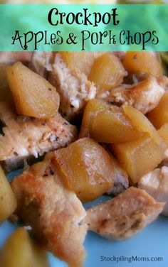 Crockpot Apples and Porkchops are easy to make and taste delicious!