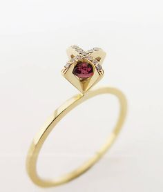Tourmaline Ring, Unique Engagement Ring, 18K Diamond Ring, Diamond Tourmaline Ring, Simple Engagement Ring, 18K solid gold ring, For Her