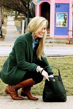 Emerald Green sweater...yes please!  Beautiful with the brown boots...