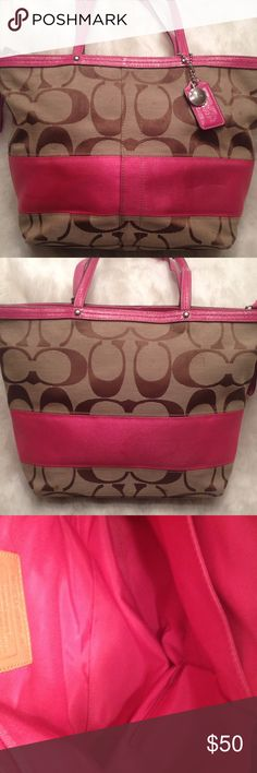 EUC COACH Signature Tote COACH#A0969-F13548. Has a small dirty spot on the liner shown in pic can be cleaned. Good straps. Has one small really faint pen mark and a really small faint stain shown in pic that you can't hardly see unless you look at it on eye level. No scuffs and snags. Measures 8x14 Coach Bags Totes