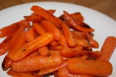 Glazed Oven Roasted Carrots - I don't like mushy, cooked carrots, but they are so yummy roasted!