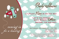 Baby Shower Invitation Airplane Pilot - Airplane Shower Invite Clouds Sky - Blue Brown Red