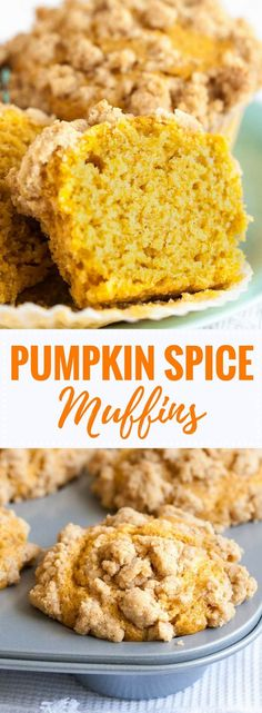 Pumpkin Spice Muffins are so flavorful, have a tender texture and are so moist! They are topped with crunchy pumpkin spice crumbs and take only 10 minutes to whip up. An easy pumpkin muffin recipe that tastes delicious for breakfast, brunch, or as a snack! #pumpkinrecipes