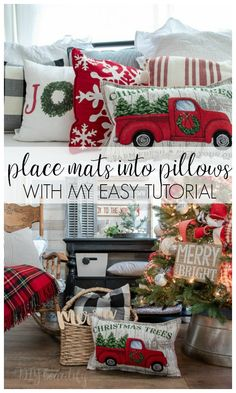 Turn place mats into gorgeous, designer-worthy pillow covers! I'm sharing the tutorial PLUS my trick for perfectly stuffing a pillow cover with no lum. Dollar Tree Christmas, All Things Christmas, Christmas Crafts, Christmas Decorations, Diy Christmas Pillows, Christmas Pillow Covers, Xmas, Christmas Sewing Gifts, Diy Pillow Covers